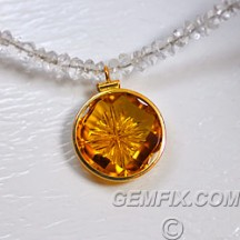 designer carved citrine golden pendant