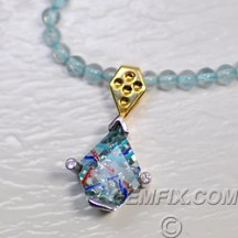 aquamarine white and yellow gold fancy necklace