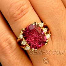 rubellite tourmaline cushion ring