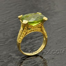 fancy yellow diamonds and peridot ring
