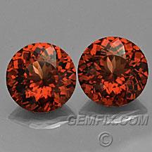 orange red garnet round pair