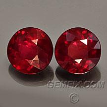 pigeon blood ruby round pair