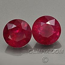 burmese pair of round rubies