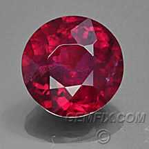 certified round red ruby