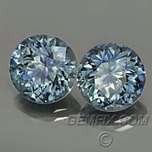 round pair of montana sapphires