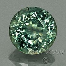 unheated round green Montana sapphire