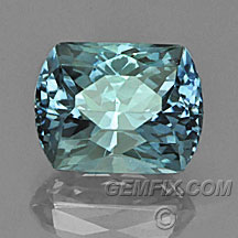 blue green Montana Sapphire cushion