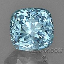 aqua blue unheated Montana Sapphire cushion