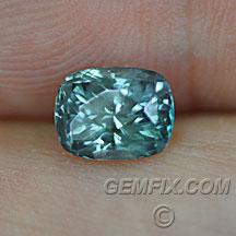 blue green untreated Montana Sapphire cushion teal
