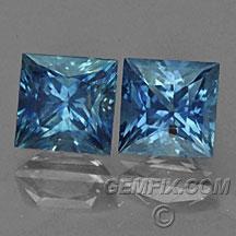Montana Sapphires blue princess cut pair