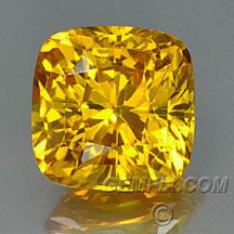 yellow orange cushion sapphire
