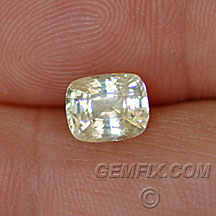 light yellow untreated sapphire cushion