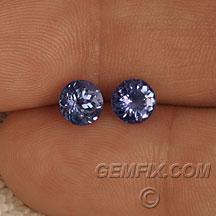 pair of round tanzanites