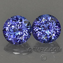 blue violet round tanzanite pair