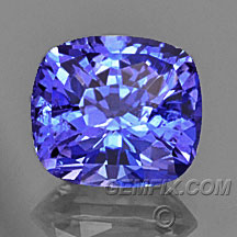blue tanzanite cushion