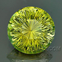 yellow round tourmaline concave cut