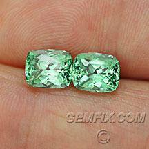 cushion pair blue green tourmaline