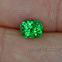 tsavorite green garnet cushion