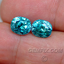 cushion pair blue zircon