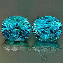 Blue zircon oval matched pair