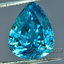 large blue zircon pear