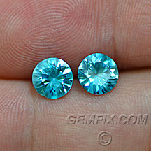 blue zircon round pair