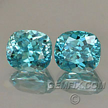 blue zircon cushion pair