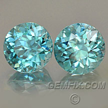 round matched pair of blue zircons