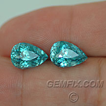 large pair of blue zircons
