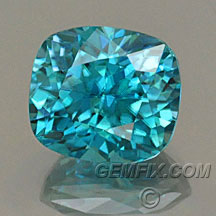 blue zircon cushion