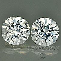 white zircon diamond cut pair