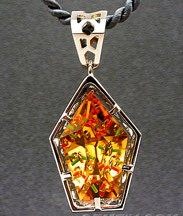 white gold pendant with large designer cut fancy citrine