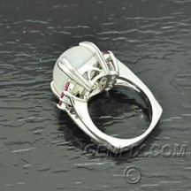 moonstone cushion and pink tourmaline white gold ring