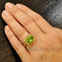 fancy yellow diamonds and peridot ring